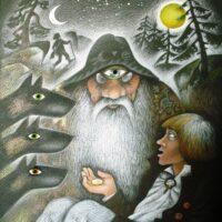 "Fr. R. Kreutzwald. ""Lopi ja Lapi"". Muinasjutt ""Õnne-rublatükk"", 2008, guašš, värviline pliiats"