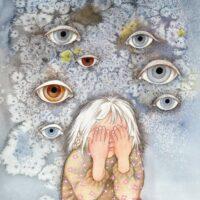 """Mari Saat. """"Mina ise"""", 2009, akvarell, värviline pliiats"""