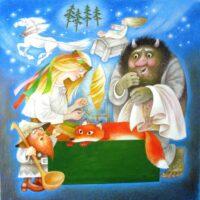 """""""Eesti muinasjuttude kuldraamat"""", kaas, 2009, akvarell, guašš"""