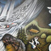 """""""Eesti muistendite kuldraamat"""". Illustratsioon peatükile """"Muistendeid rändavatest järvedest, salapärastest saartest ja kividest"""", 2010, akvarell, guašš, värvipliiats"""