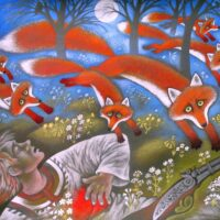 """Fr. R. Kreutzwaldi muinasjutt """"Küti kadunud õnn"""", 2009, akvarell, guašš, värvipliiats"""