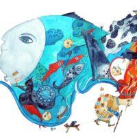 """M. J. Eisen. """"Merelehmad"""", 2011, akvarell, harilik pliiats"""
