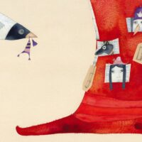 """Kärt Hellerma. """"Mütside sõda ja teisi jutte"""", Hea Lugu, 2018, akvarell, harilik pliiats"""
