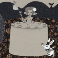 Illustration. There's Always Tea Time (Lewis Carroll. Alice in Wonderland), 2014, mixed media