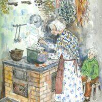 """Juhani Püttsepp. """"Veskitont Niglas"""", Ilmamaa, 2001, segatehnika (akvarell, sulejoonistus)"""