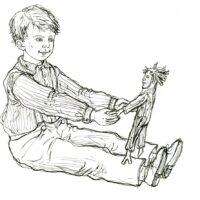 """Vestly, Anne-Catherine. """"Väikevend ja Pulkson"""", 2014, tindipliiats"""