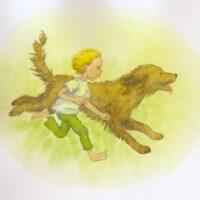 """""""Uued eesti muinasjutud"""". Siiri Sisask """"Lugu poisist ja kondisest koerast"""", Pilgrim, 2009, akvarell"""