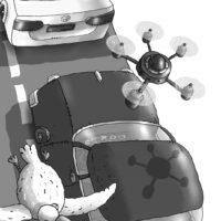 """Ilmar Tomusk. """"Kriminaalsed automatkajad"""", Tammerraamat, 2014, harilik pliiats, tušš, digijoonistus, arvutitöötlus"""