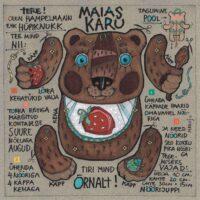 "Postkaart-hampelmann ""Maias karu"", 2012, segatehnika"