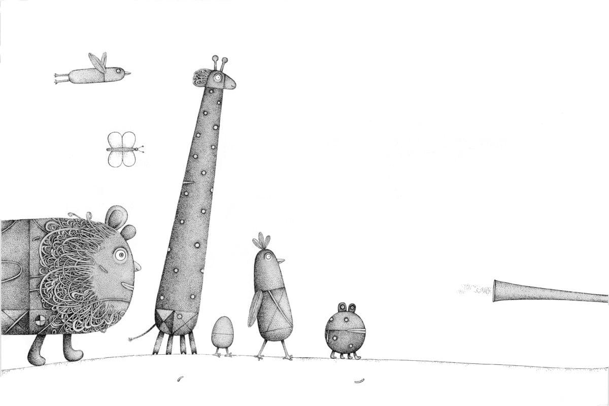 """Piret Raud. """"Trööömmmpffff ehk Eli hääl"""", 2016, tušš, akvarell"""