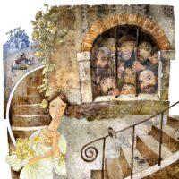 """Epp Petrone. """"Muinasjutud armastusest"""", muinasjutt """"Printsessi peitusmäng"""" Bulgaariast, 2011, segatehnika"""