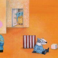 Aino Pervik. Bluephant Goes to Kindergarten, Tammerraamat, 2014, acrylic, mixed media