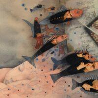 """Aapo Ilves. """"Muinasjutud lastele ja suurtele"""", Futu Print, 2012, akvarell, pliiats, kollaaž"""