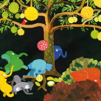 """Tia Navi. """"Seitse väikest elevanti"""", Kirisild, 2016, akrüül, arvutitöötlus"""