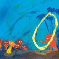 "Tia Navi. ""Seitse väikest elevanti"", Kirisild, 2016, akrüül"