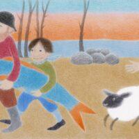 """Heljo Mänd. """"Suur laisk ja väike laisk"""", 2014, värvipliiats"""