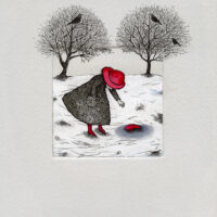 """Tia Navi """"Väike armastuse lugu"""", 2018, ofort, tušš, akvarell, guašš"""